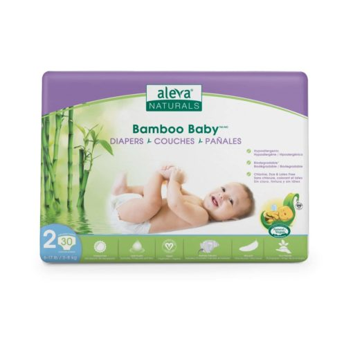 Aleva Naturals Bamboo Baby Diapers, Size 2